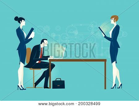 Businessman working with laptop and personal assistants making the notes. Business concept illustration.