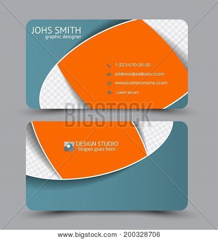 Business card. Design set template for company corporate style. Vector illustration. Orange and green color.