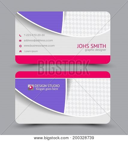 Business card. Design set template for company corporate style. Vector illustration. Pink and purple color.