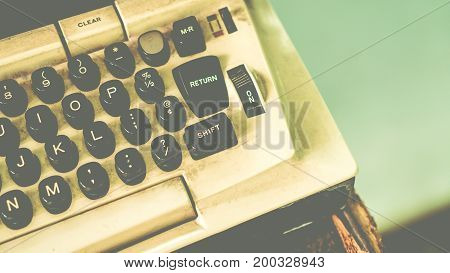 Old Green Antique Typewriter With Copy Space For Text. Close Up Of Retro Old Typewriter With Vintage
