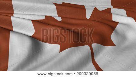3D illustration of Canadian flag fluttering in light breeze