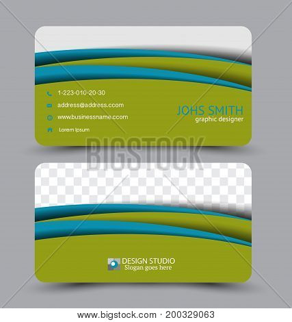 Business card. Design set template for company corporate style. Vector illustration. Blue and green color.
