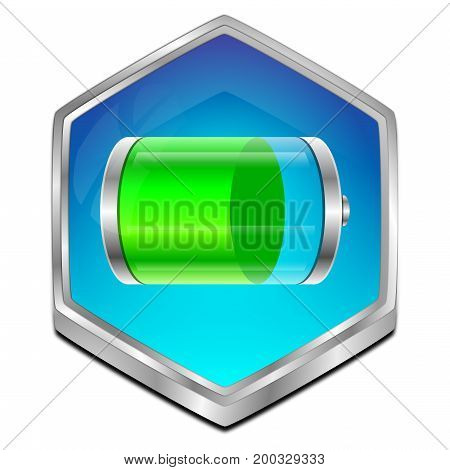 glossy blue Battery Button - 3D illustration