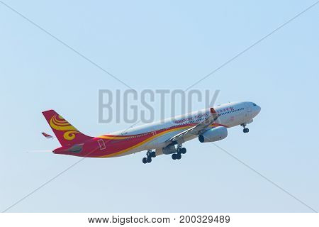 BANGKOK THAILAND - FEBRUARY 112017 : hongkong airlines plane departure from suvarnabhumi airport outskirt of thailand capital