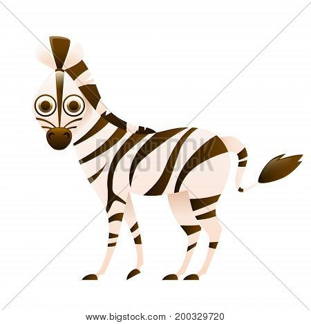 Zebra cute cartoon character isolated on white background. Vector illustration
