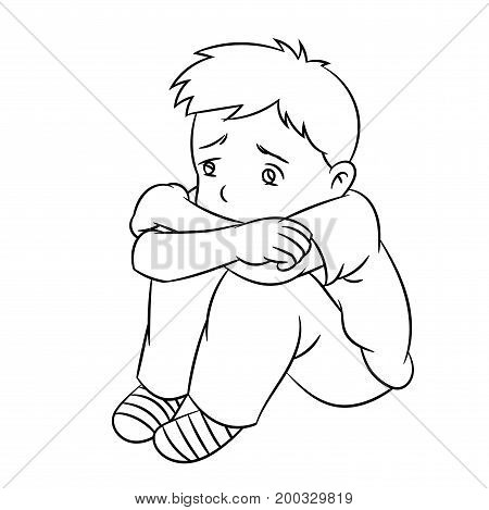 Cartoon of a boy sad and lonely child or student. Ideal for catalogs informational educational and institutional material
