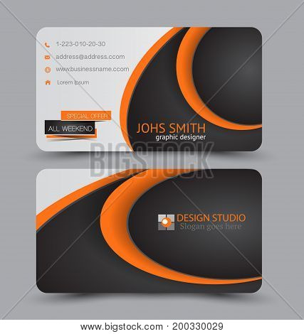 Business card. Design set template for company corporate style. Vector illustration. Black and orange color.