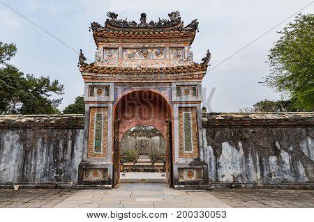 Tomb of Tu Duc emperor in Hue Vietnam. A UNESCO World Heritage Site. Hue Vietnam