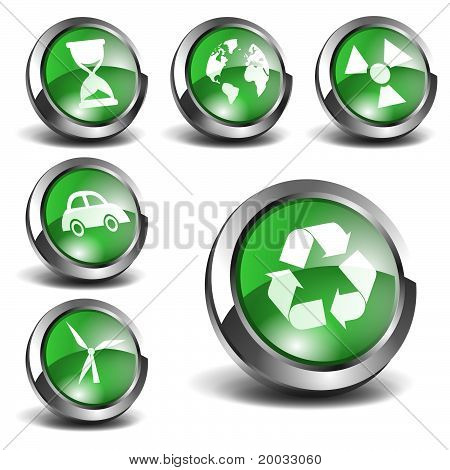3d Green Icons Set 02