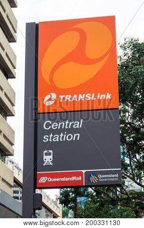 Brisbane, Australia - July 9, 2017: Central Station is part of the Translink urban train network in Brisbane.