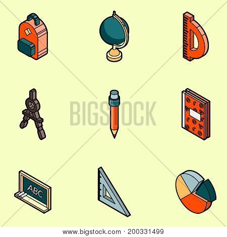 School color outline isometric icons. Education And Science. Vector illustration, EPS 10
