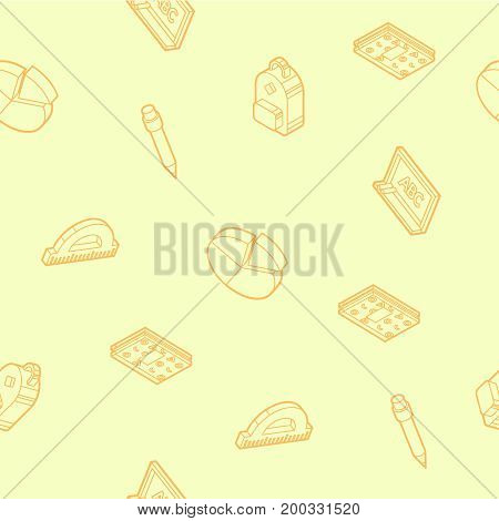 School color outline isometric pattern. Education And Science. Vector illustration, EPS 10