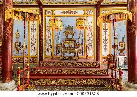 Hue Vietnam - Mar 16 2017: Royal throne in the theater in Hue. in Hue Vietnam