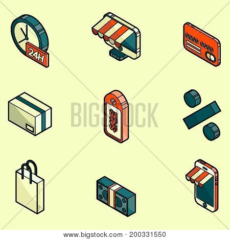 Shopping color outline isometric icons. Vector illustration, EPS 10
