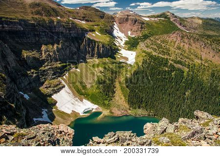 View one of the glacial lakes on the Akamina ridge trail in Waterton Lakes NP, Canada