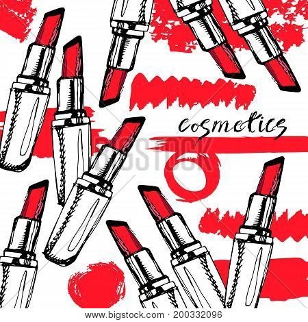 Fashion lipstick ads trendy cosmetic design for advertisement