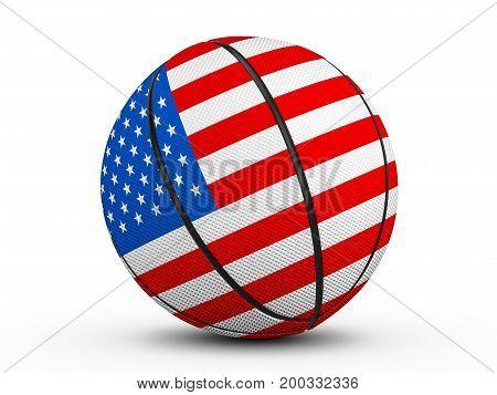 Basketball Ball Usa Flag 3D Illustration