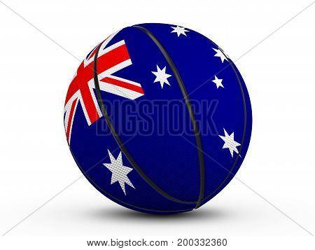 Basketball Ball Australia Flag 3D Illustration