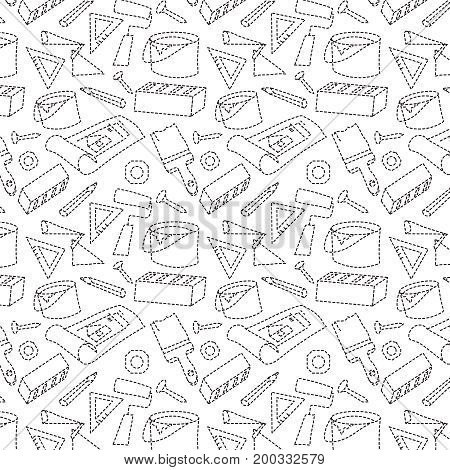 Seamless pattern with elements of construction. Builder's profession