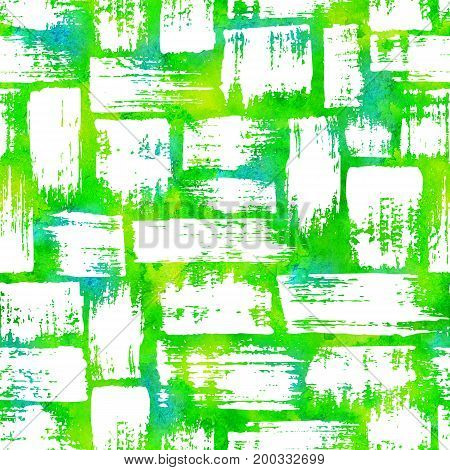 seamless pattern with brush stripes and strokes White color on yellow green watercolor background. Hand painted grange texture.