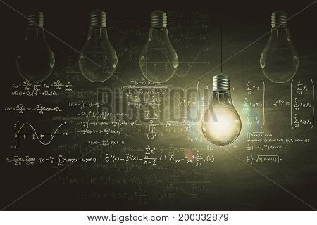 Glowing lamp and mathematical formulas on chalkboard. Science concept. 3D Rendering