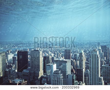 Abstract city and water ocean sea backdrop with copy space. Creativity abstraction and innovation concept
