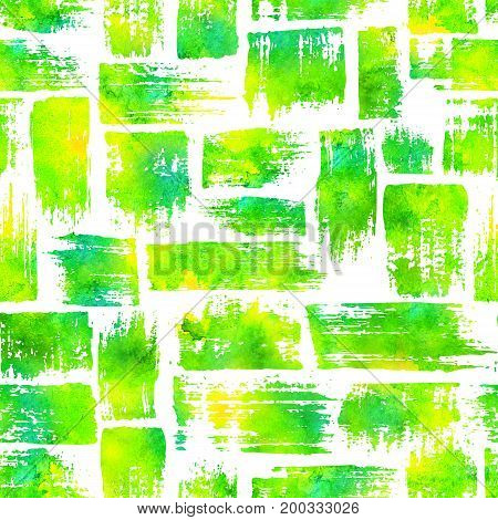 seamless pattern with brush stripes and strokes.Yellow green watercolor color on white background. Hand painted grange texture.
