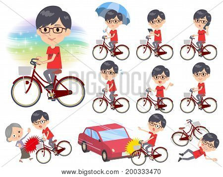 Red Tshirt Glasse Men_city Bicycle