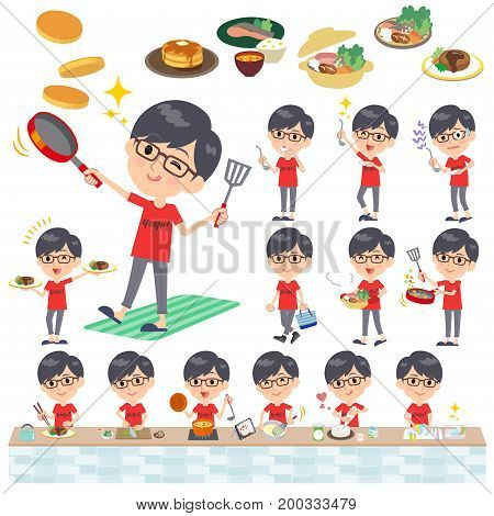 Red Tshirt Glasse Men_cooking