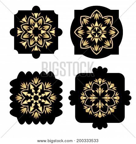 Black shapes with golden antiquarian geometric pattern in art deco style decoration elements design template luxury emblem for product 3d illusion vector EPS 10