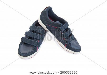 Sports shoes blue. Isolated. White background. Shoes for active people