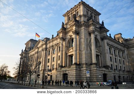 German And Travelers People Walking At Beside Of Reichstag Building Is Historic Edifice For Travel A