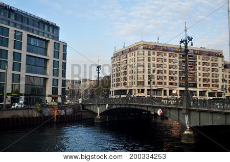 View Cityscape And Classic Building With Weidendammer Bridge And Spree River At Berlin City