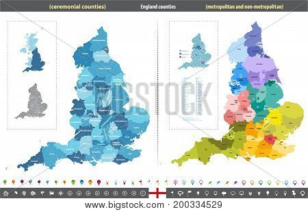 England counties vector high detailed isolated map