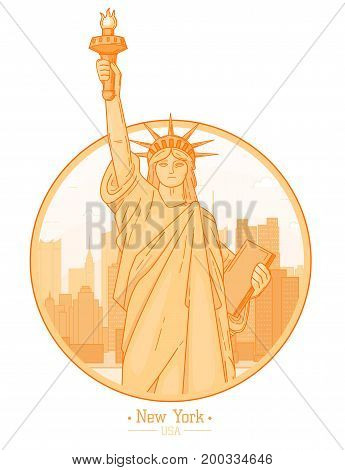 New York city skyline buildings landmarks Statue of Liberty symbol of freedom silhouette vector illustration. Cityscape orange color Line art USA nyc modern flat panorama project design travel poster