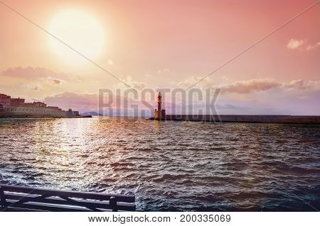 Sunset at the Venetian Lighthouse at Chania Crete Island