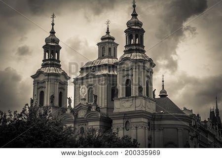 Dark view of Saint Nicholas church in Prague, Czech Republic