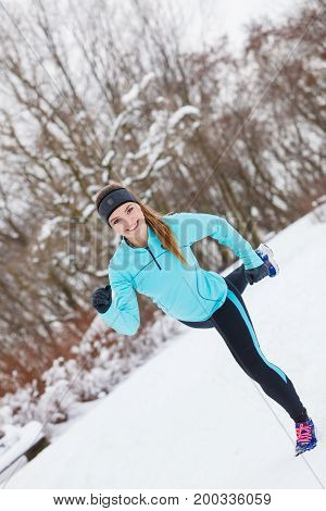 Winter Sport, Girl Exercising In Park