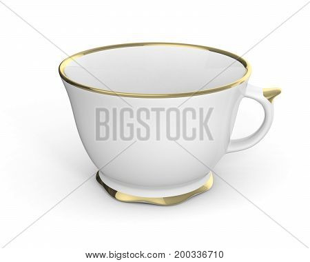 Isolated antique porcelain white tea cup with gold edging on white background. Vintage crockery. 3D Illustration.