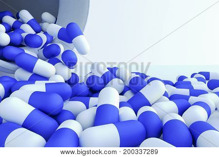 A close up of many colorful pills (3d rendering)