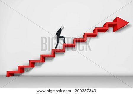 Businessman climbing ladder and falling down (3d rendering)