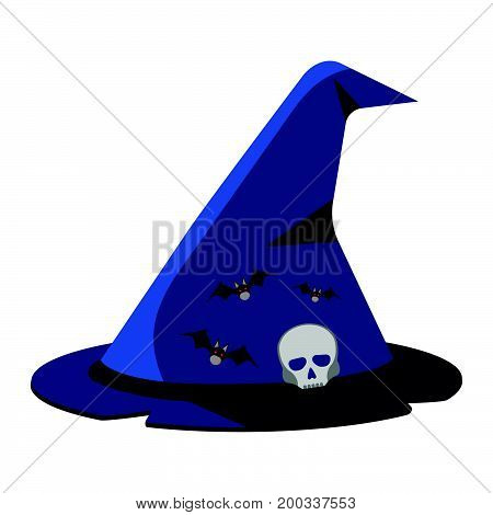 Witch's Hat Cartoon Icon On Green Background.