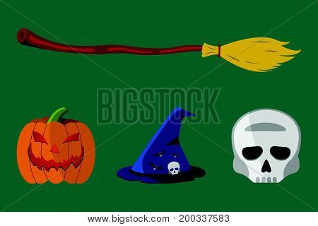 Cartoon Halloween Icon Set. Pumpkin, Skull, Flask, Witch's Hat, Broom.