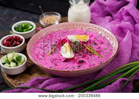 Cold Beetroot (beet) Soup On Yogurt With Egg, Onion And Cucumbers.