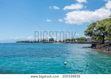 A view of the shoreline in Lahaina on Maui Hawaii.