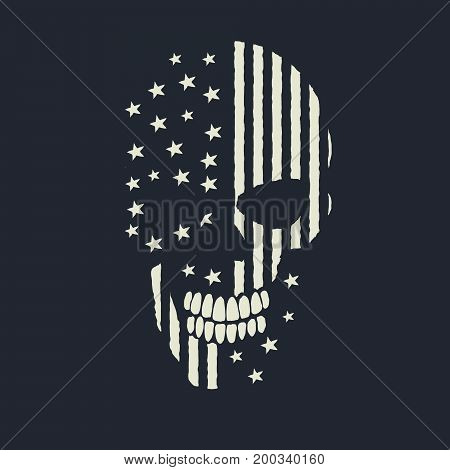 skull made like the american flag.Vector prints design for t-shirts or other apparel