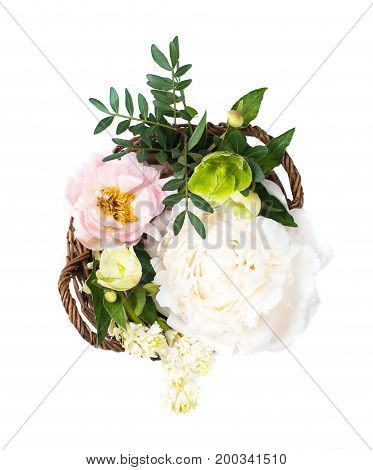 Wedding arrangement with peony flowers ion white background isolated. Summer floral decor