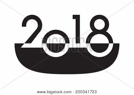 Happy new year 2018 text lettering design vector illustration