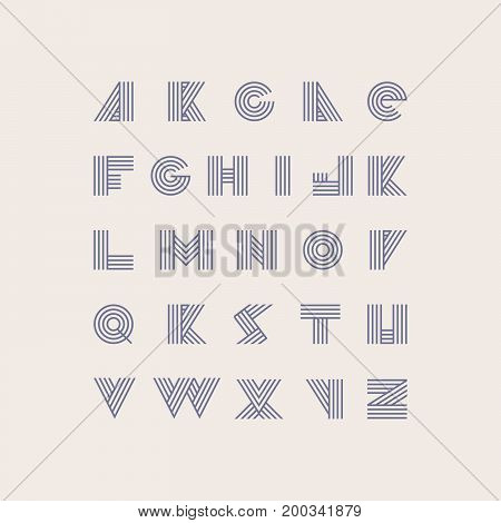 Font based on purple stripes in geometric style. Vector collection of letters sequence from A to Z