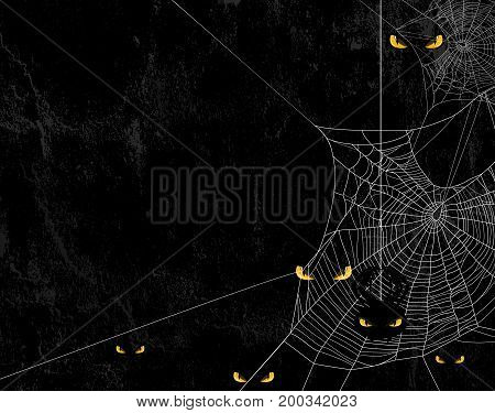 Spider web silhouette against black shabby wall and evil yellow eyes - halloween theme spooky background with place for your text